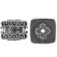Sterling Silver Ornate Cube Beads 11x13mm - B1379
