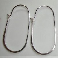 Sterling Silver Oval Earrings Hoop