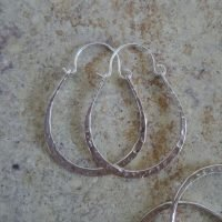 (One Pair) Sterling Silver Earrings Hoop 33×24.5mm – ER8077
