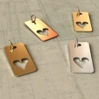 Sterling Silver Tag with Heart Cutout - CH061