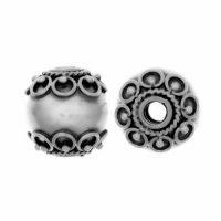 Sterling Silver Fancy Round Beads  11x10.3mm - B1157