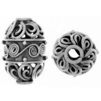 Sterling Silver Melon Shaped Beads  15.7x9.8mm - B1570