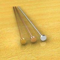Sterling Silver  Flat Pins  22 Gauge, Length 56mm, Head 3mm - H7017