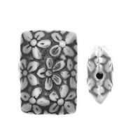 Sterling Silver Rectangle Stamped Beads  12x8.6x3.9mm - B1629