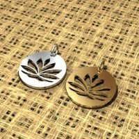 Sterling silver lotus disc  - CH012